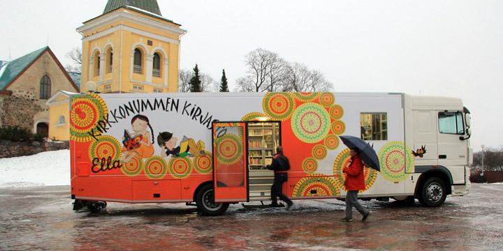 Hala kütüphane otobüslerine rastlamak mümkün. Resim: verkkonummi.fi